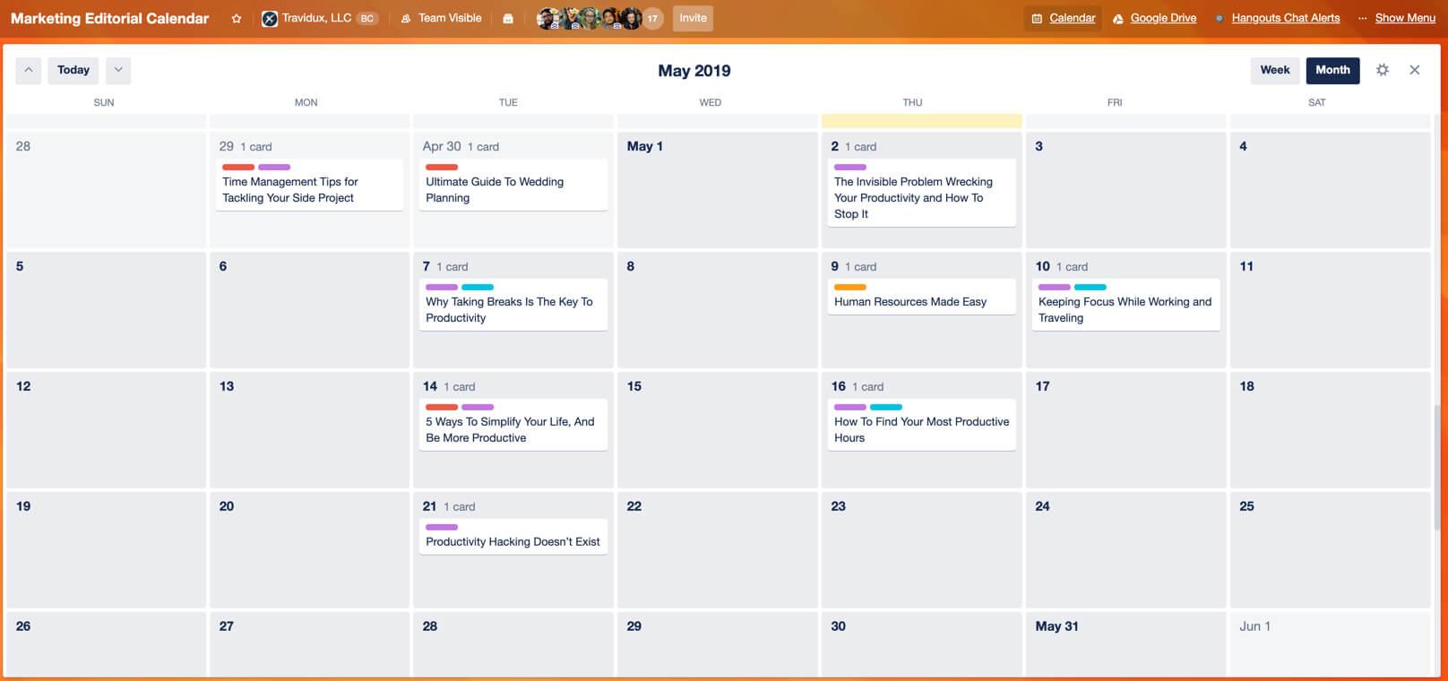 Tarjeta de Trello en vista de Calendario por mes