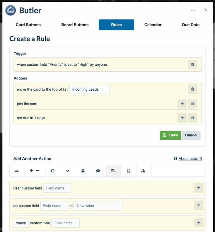 Conectando Campos personalizados con Butler en Trello Business Class