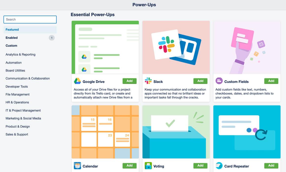 Power-Ups y aplicaciones que puedes ligar a tu tablero con Trello Business Class