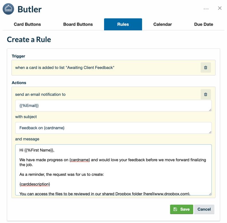 règles d'e-mail pour Butler