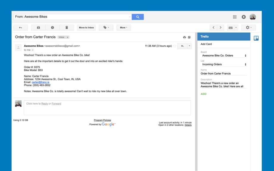 gmail e trello