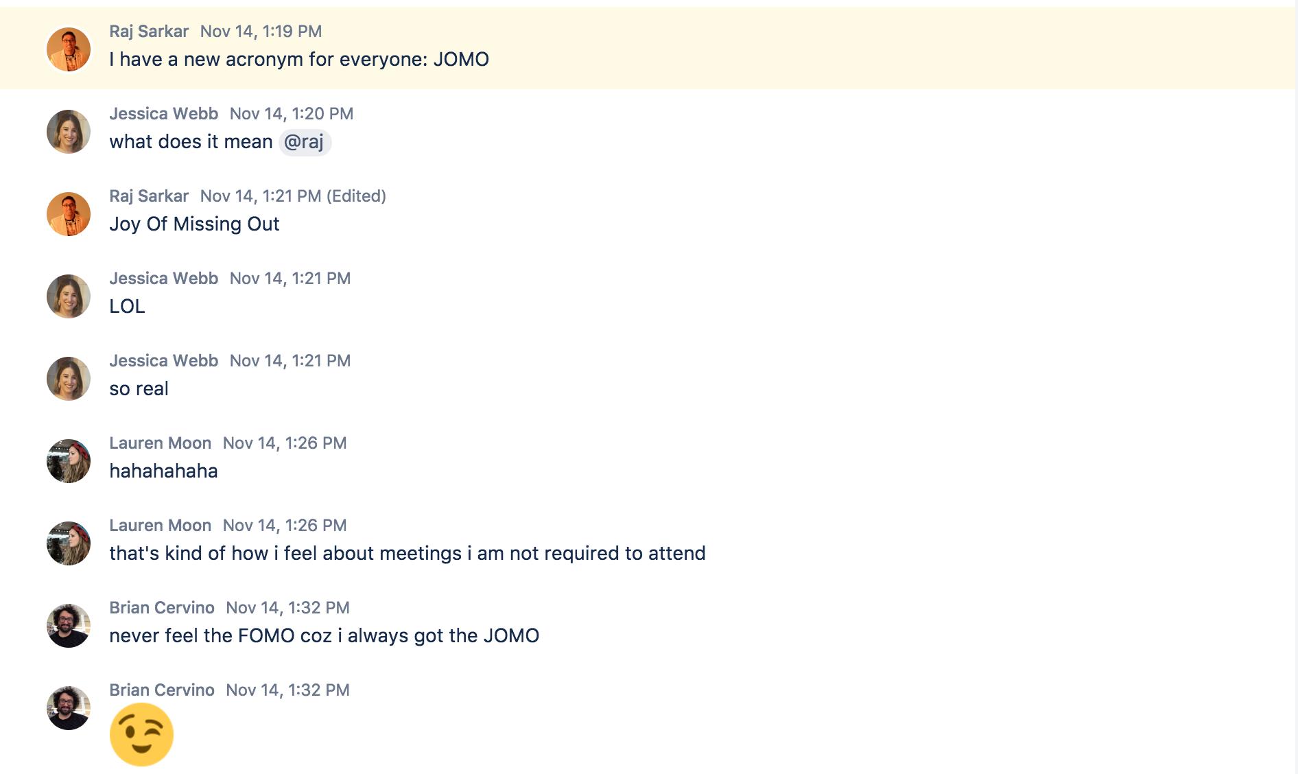 JOMO idea Stride chat