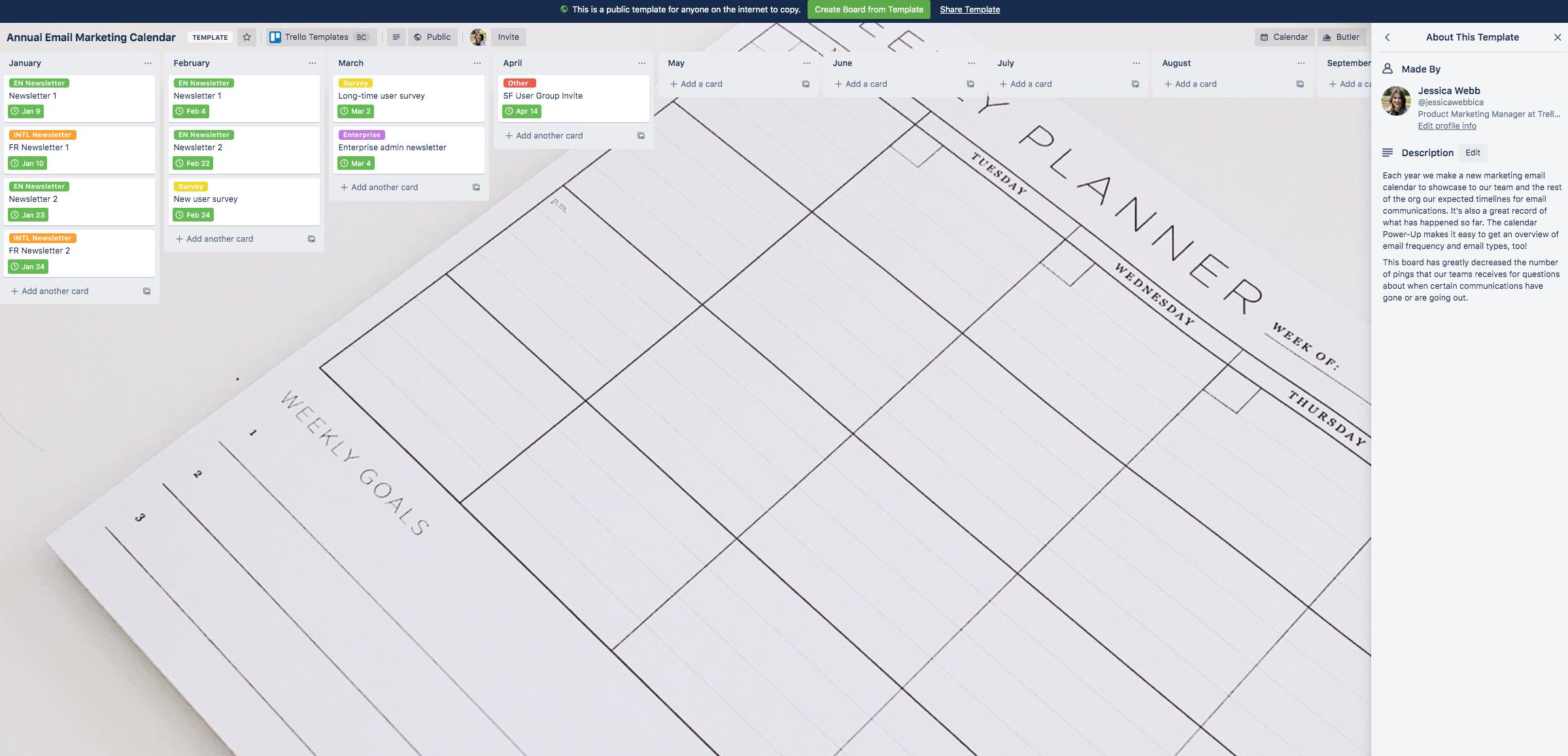 Screenshot of Trello template