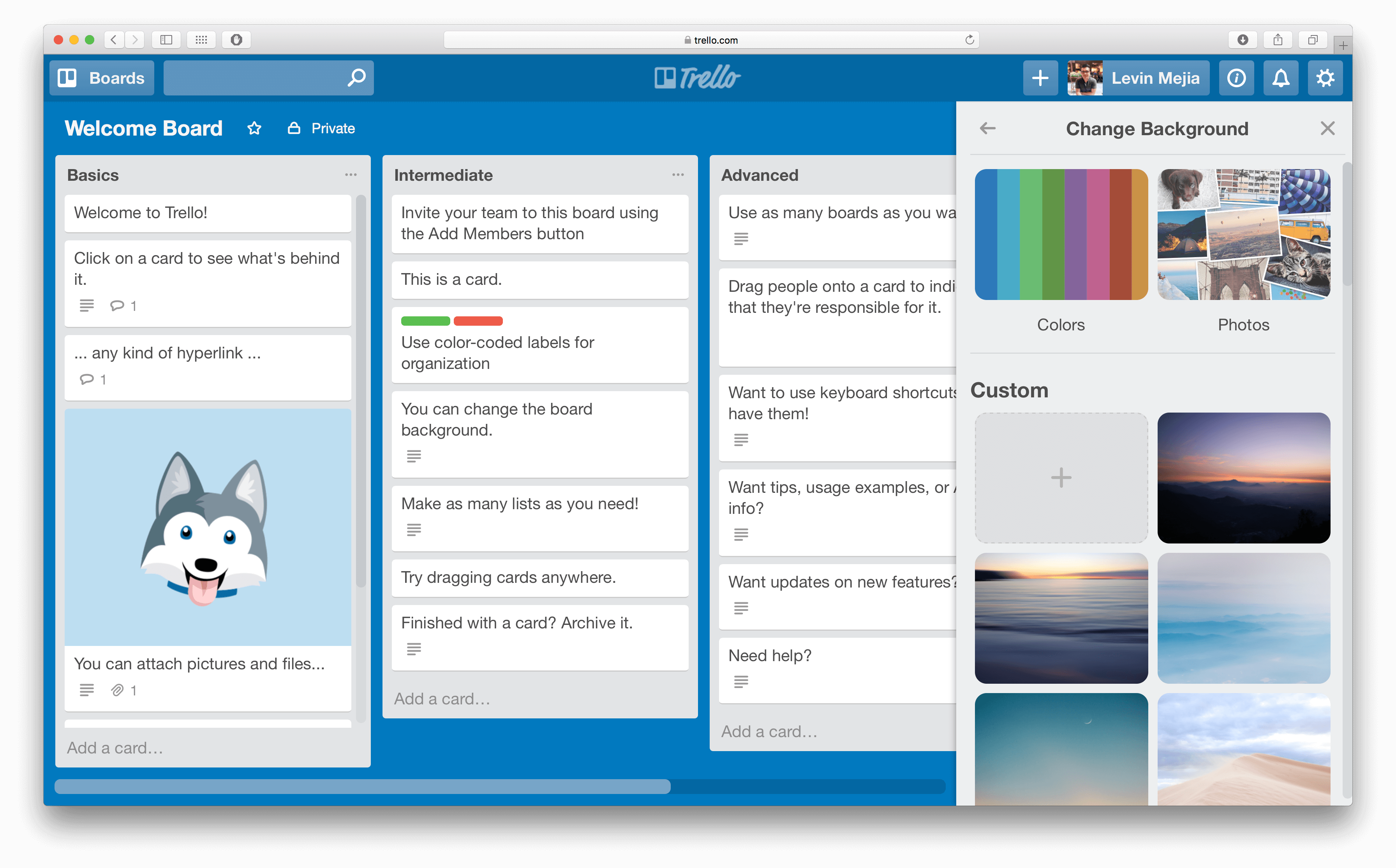 Change backgrounds in Trello