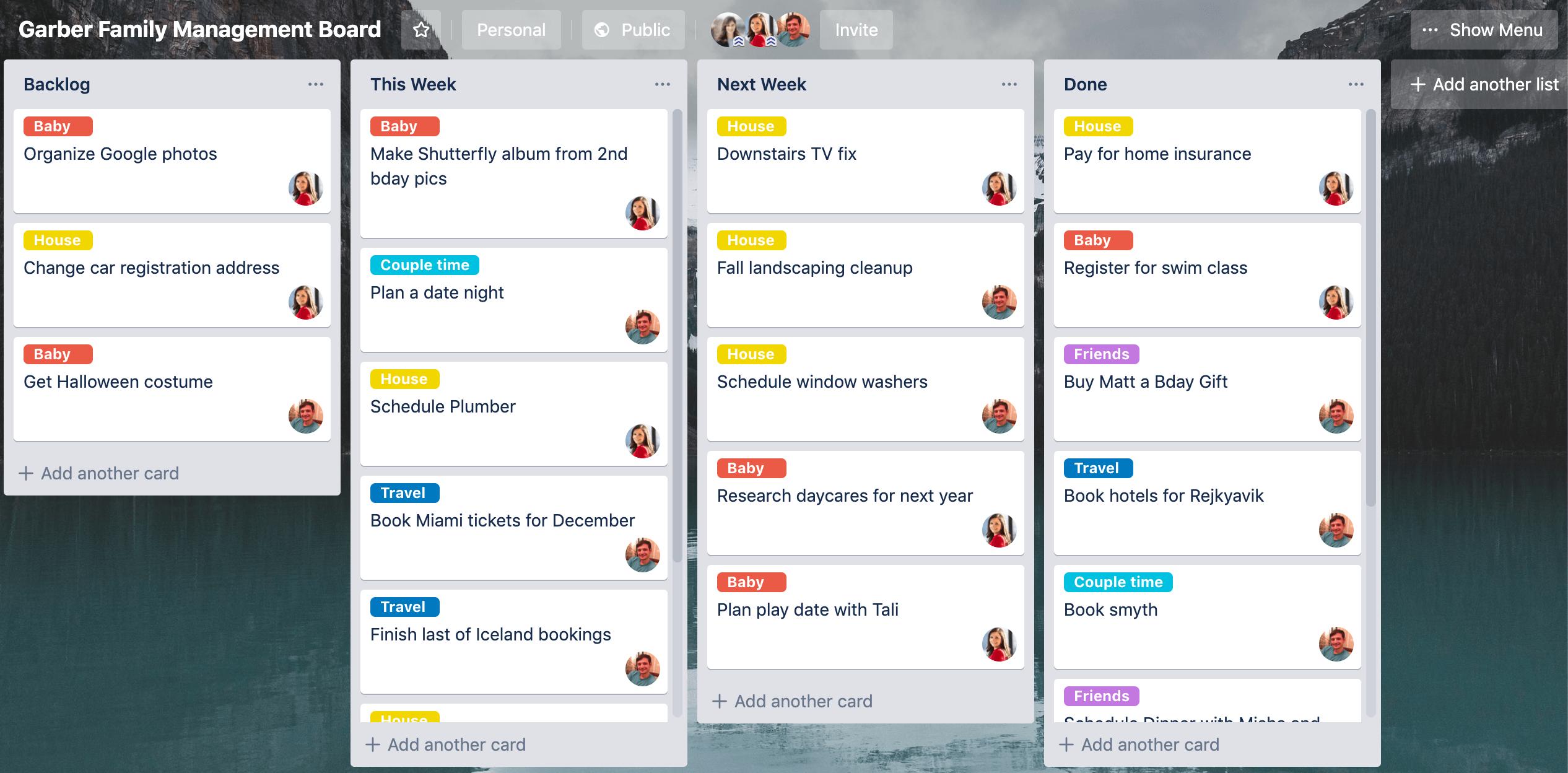 example of trello family household board