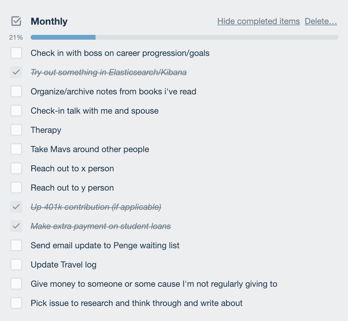 checklist des objectifs mensuels